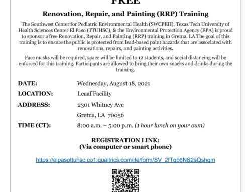 Free Renovation, Repair, and Painting (RRP) Training